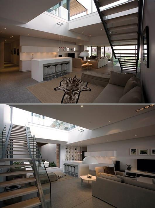mezzanine design-offener Raumgestaltung-offene weiße Küche mit Esstheke-weiße pendelleuchte