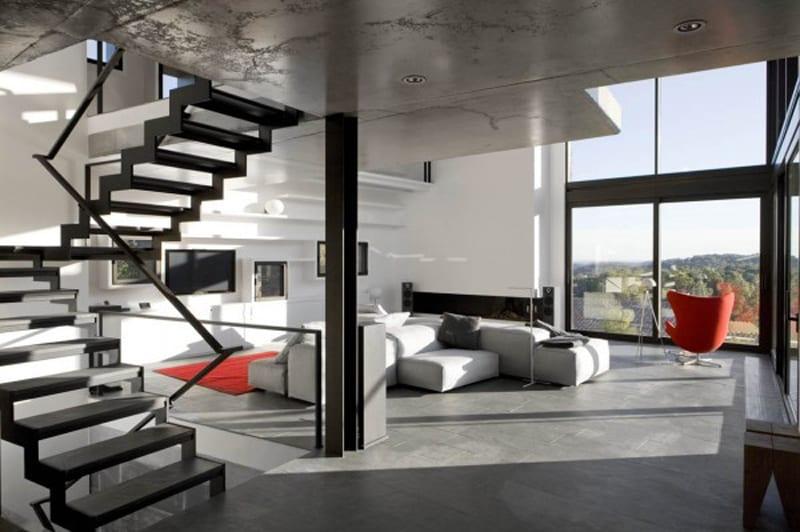 mezzanine design-minimalistische Wohnraum gestaltung-beton decke und boden-Innenraum stahltreppe