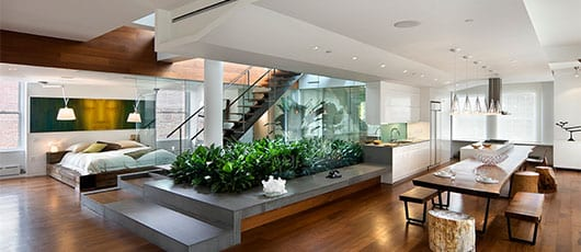 moderne Wonhraum gestaltung-offene küche-innenraum garten-modernes schlafzimmer einrichten