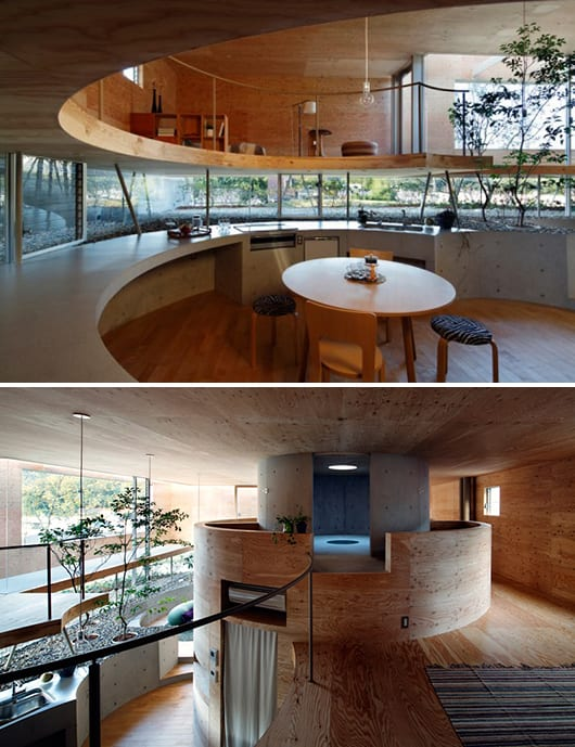 moderne Wohnraum gestaltung aus beton und holz- runde Küche idee-innenraum garten