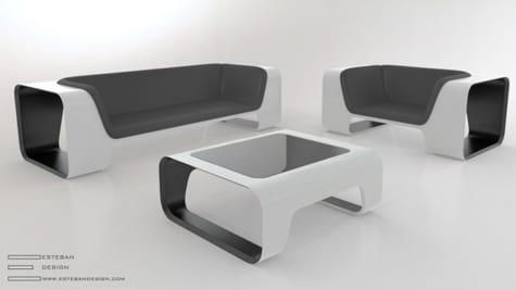 sofa and tisch schwarz-weiß