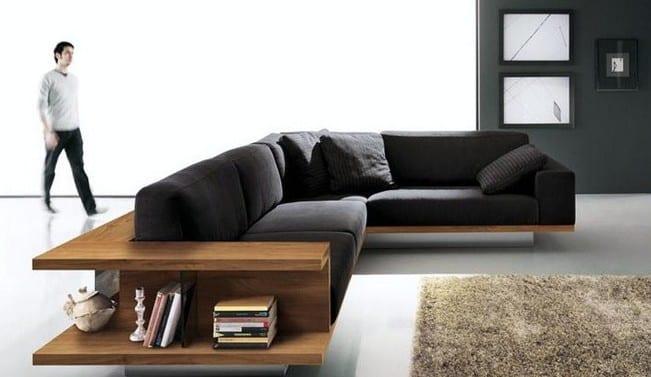 modernes sofa mit Holzregal - moderne wohnzimmer einrichtung