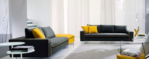 seats and sofas in schwarz und gelb- teppich grau