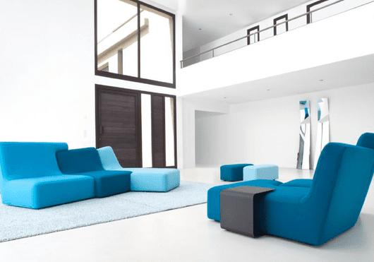 modern LOVE- sofa and seats in blau