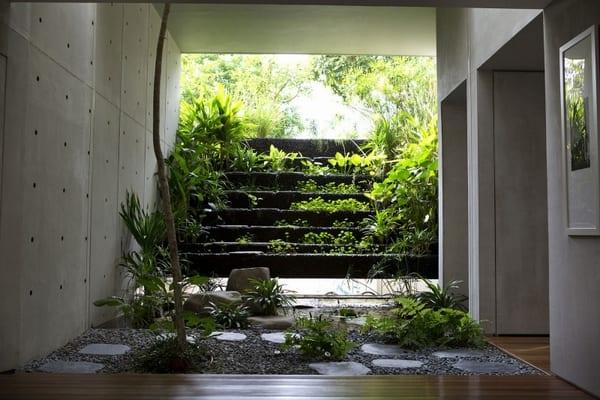 interior design mit garten im Innenraum- wände aus sichtbetonplatten- holzboden im betonhaus