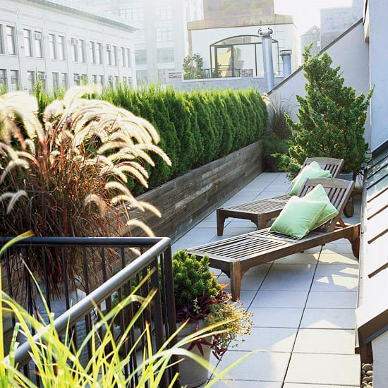 längliche Dachterrasse mit kleinem Garten und Holzliegen