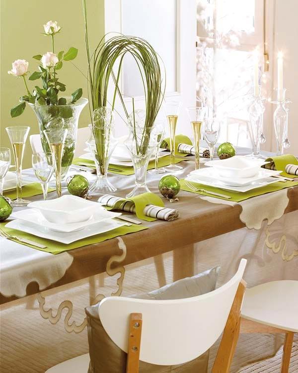 tischdeko idee in weiß und grün