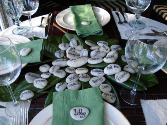 kretive tischdeko in grün