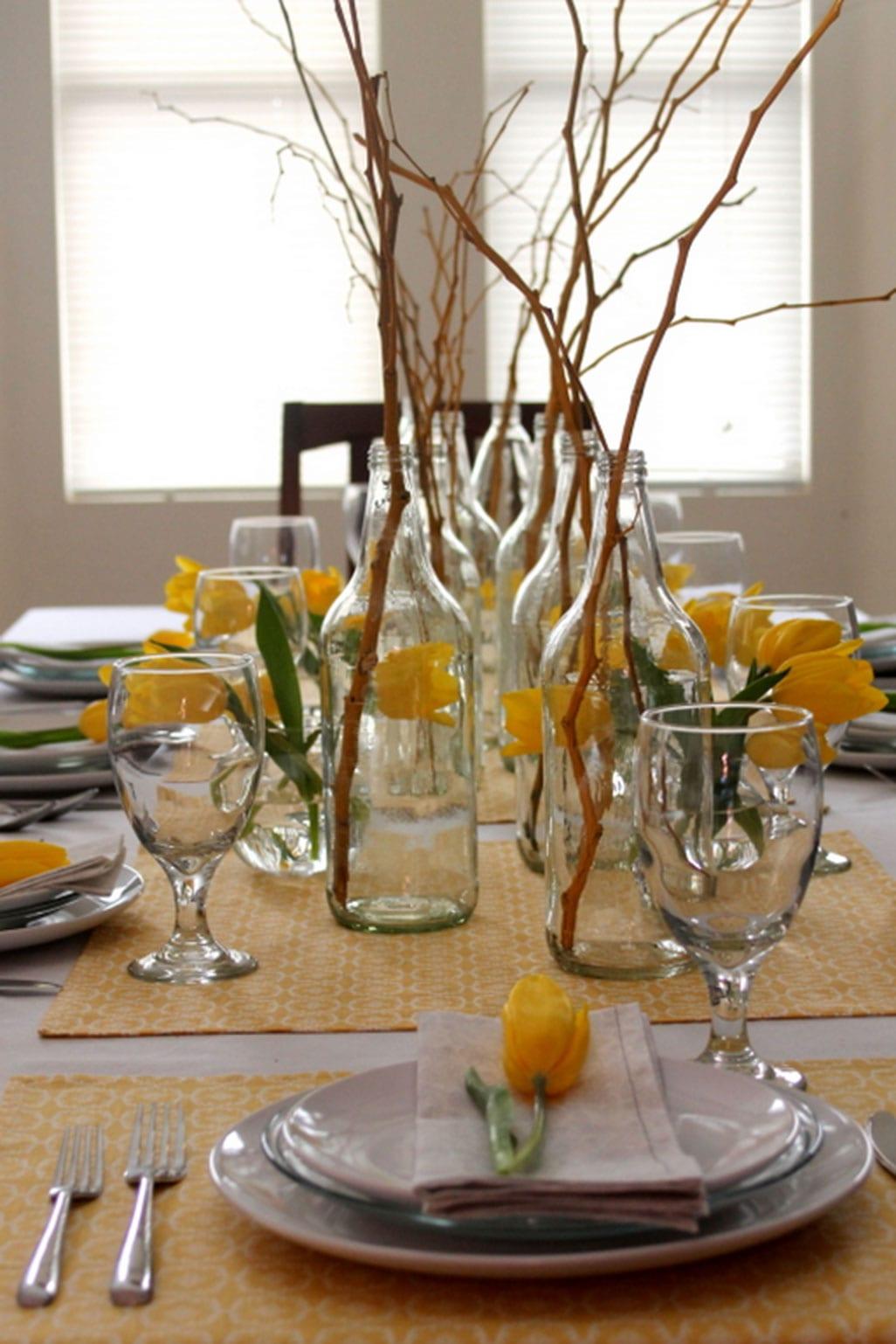 frühling tischdeko mit gelben tulpen