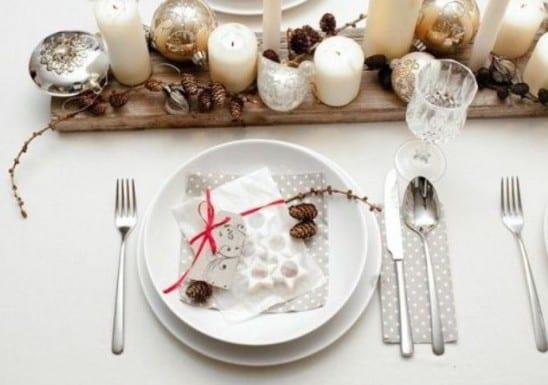 weihnacht tischdeko idee in weiß