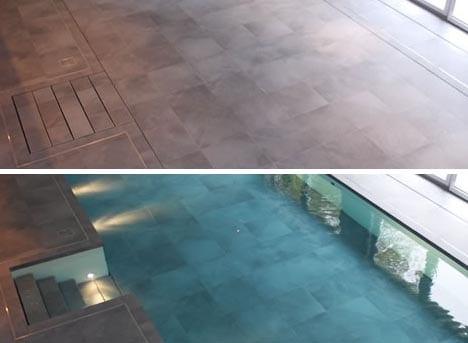 Pool mit mobilem Boden - moderne Pool Ideen- Innenpool