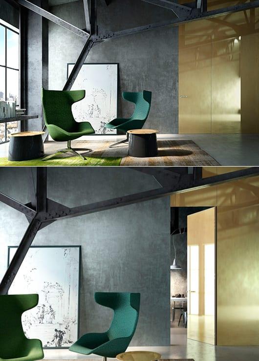 Loft Einrichten - minimalistische wohnzimmer gestaltung mit sichtbarer Metalkonstruktion und grüne Sesseln- Wand Streich idee