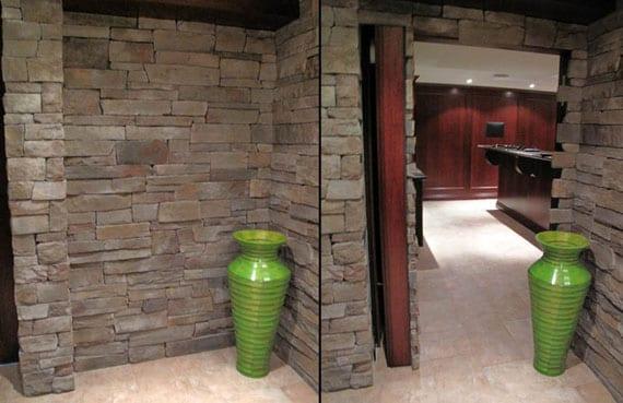 Natursteim Mauerwerk- Wandgestaltung mit Naturstein- Deko mit grüner Vase