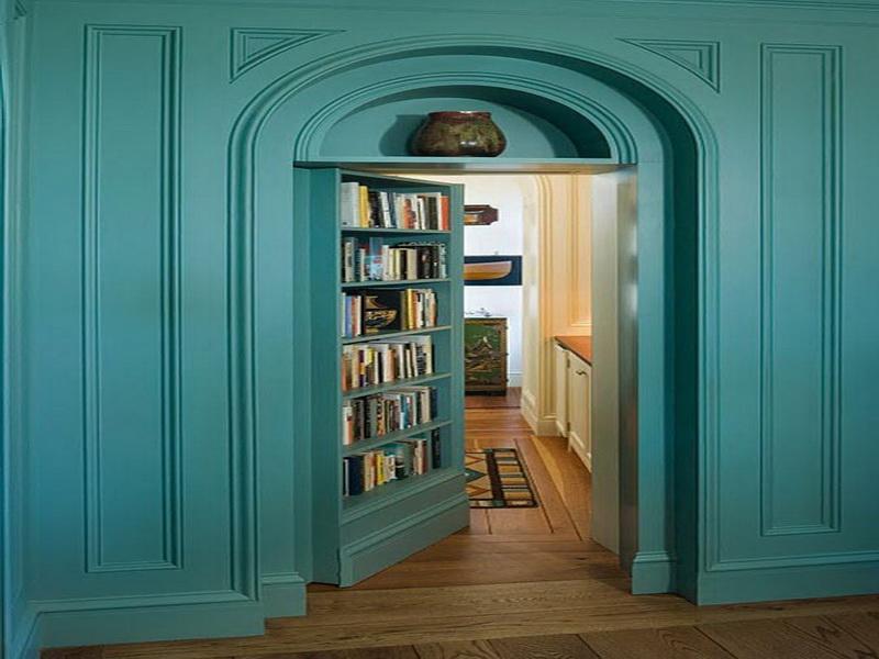 blauer Bücherregal - Wand Farbgestaltung