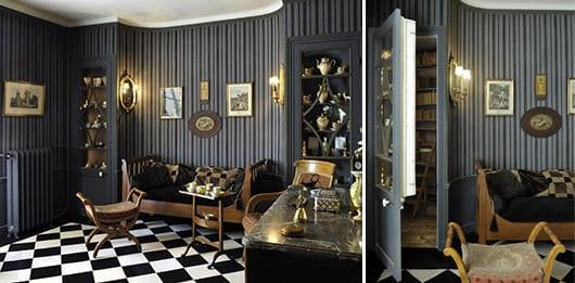 Wandtapeten mit streifen in grau- geheimraum- Bodenfliesen in schwarz und weiß