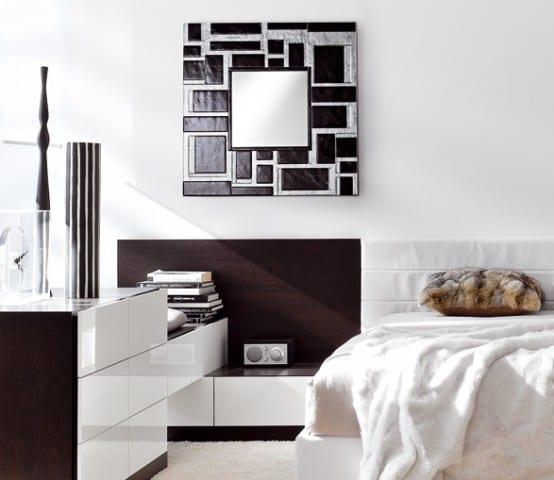 wandgestaltung schlafzimmer- weiße bettdecke-schlafzimmer möbel in weiß und braun- teppich weiß