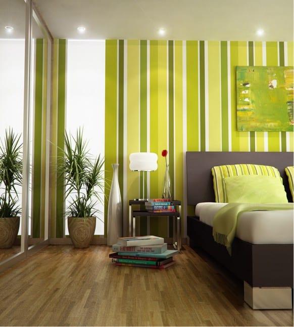 Wand Streichen idee - vertikale grüne streifen