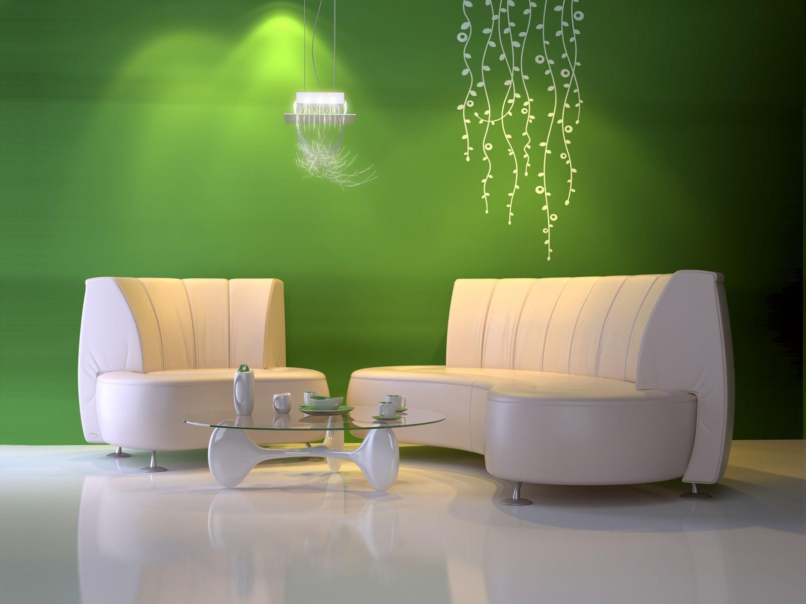grüne wand mit Vinylboden in weiß und weißen Seats and Sofas- rundtisch