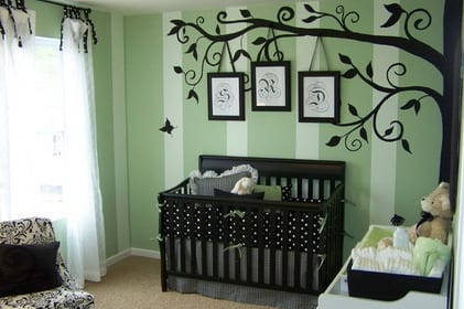 wandgestaltung gr n babyzimmer wanddeko freshouse. Black Bedroom Furniture Sets. Home Design Ideas