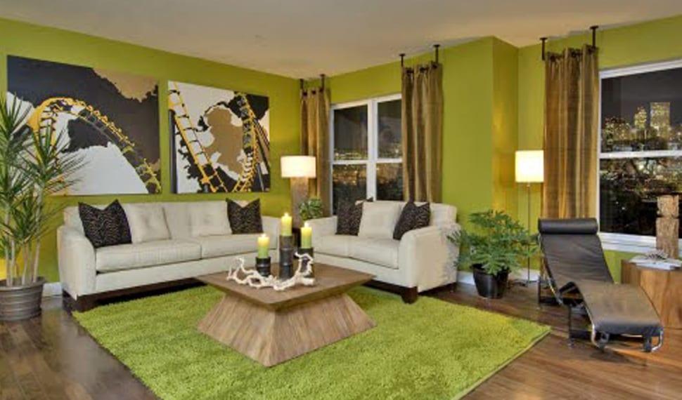 wandgestaltung grün - freshouse - Dekoideen Wohnzimmer Grun