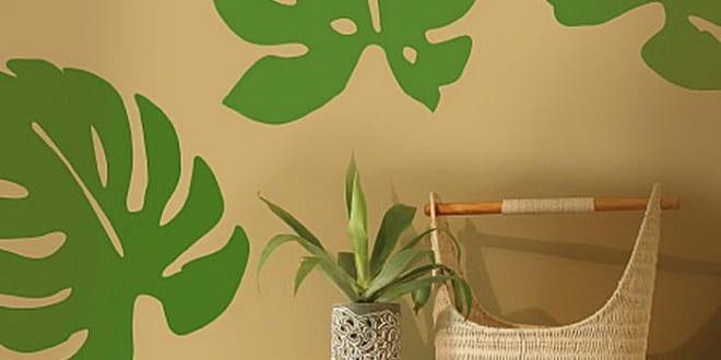 wandgestaltung grün - grüne bläter wanddeko - fresHouse