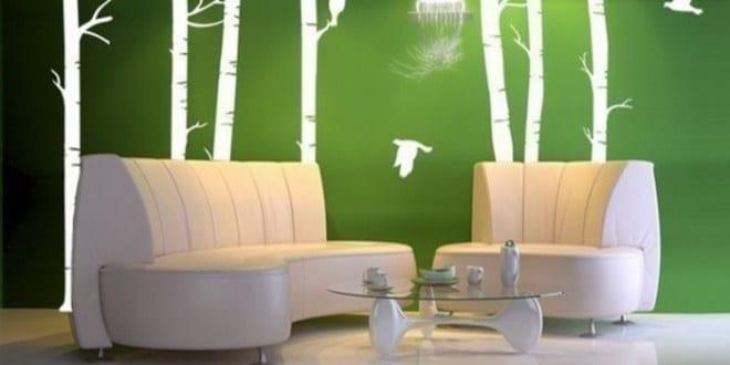 wandgestaltung gr n mit wei em wandtattoo freshouse. Black Bedroom Furniture Sets. Home Design Ideas