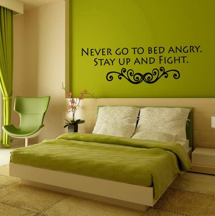Wandgestaltung Grün- Schlafzimmer Grün