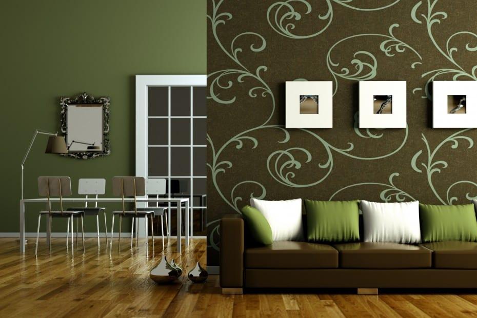 modernes Wohnzimmer gestalten mit parkett und braunem Sofa