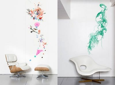 farb wandgestaltung - eams stuhl in weiß