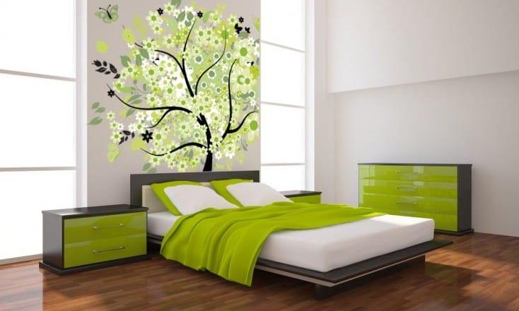 moderne schlafzimmer einrichtung in grau und grün-wandgestaltung-parkett boden