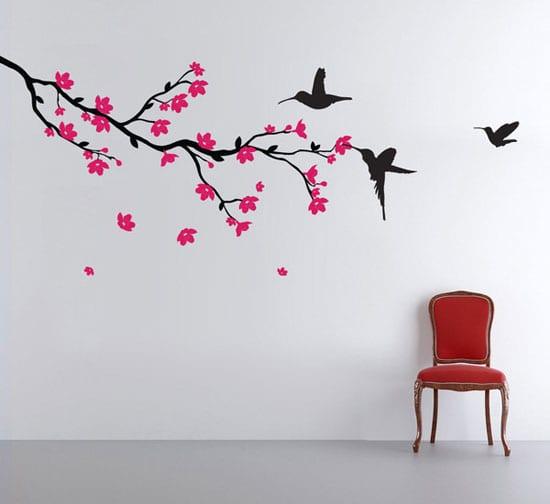 wandgestaltung mit wandtattoo baum und vögeln