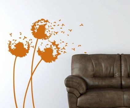 farbrausch schüner wohnen- wand deko ideen- orange blumen wandtattoo