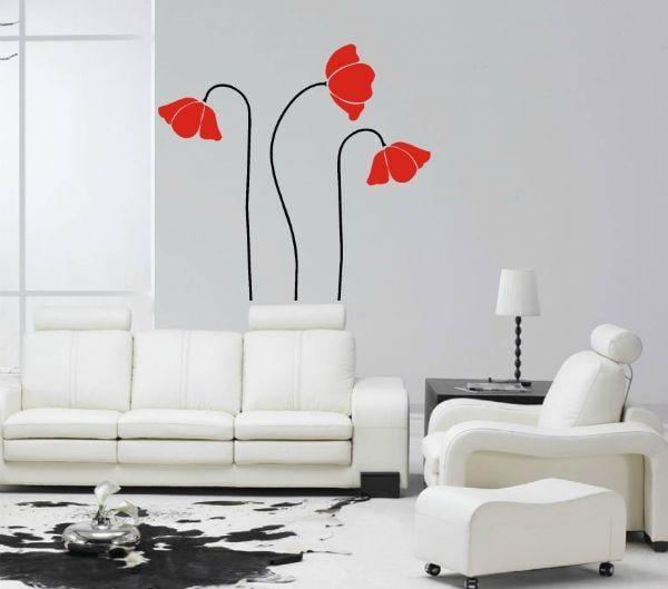 Wandtattoo Rote Blumen : wandtattoo blumen  rote blumen