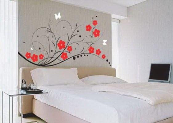 wandtattoo schlafzimmer - einrichtungs idee mit wand deko
