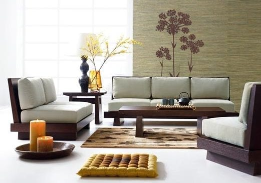 wohnzimmer einrichten-deko ideen-holzsofas mit polsterkissen