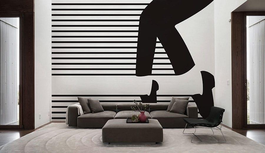kreatuve wohnzimmer gestaltung- polstersofa mit hocker in grau