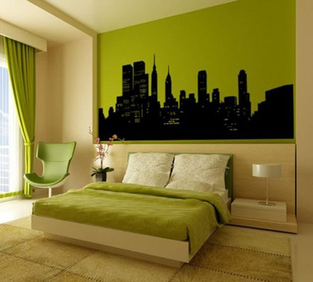 farbrausch schöner wohnen- wandfarb idee- grüne schlafzimmer gestaltung