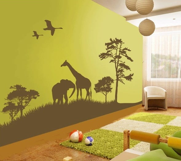 moderne wohnzimmer einrichtung in grün- wand steich idee