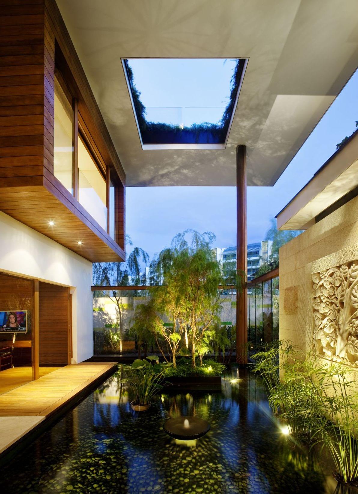 gartenidee mit wasser-überdachte terrasse mit dachterrasse-garten mit wißer Natursteinmauer