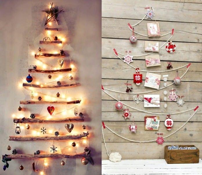 weihnachtsdeko für wand - dekorativer weihnachtsbaum idee