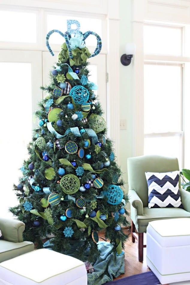 kreative deko für weichnachtsbaum in frün