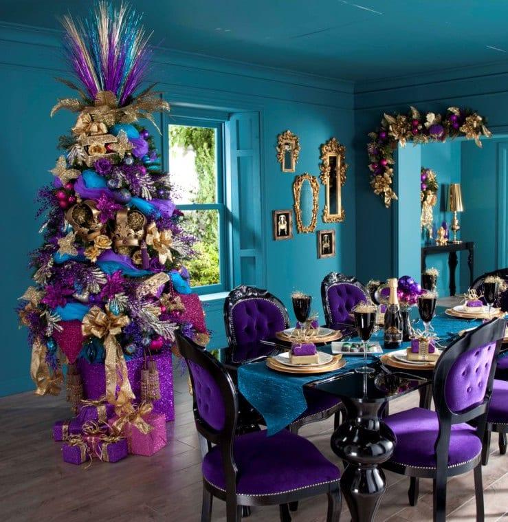 weihnachtsdeko in blau und lila - kreative deko fürs weihnachten