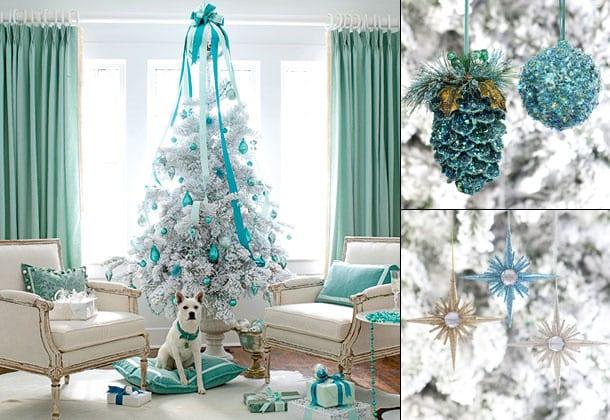 blaue weihnachtsdeko für weißen weichnachtsbaum