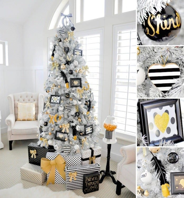 kreative dekoration für kunstweihnachtsbaum mit schwarzen bildern