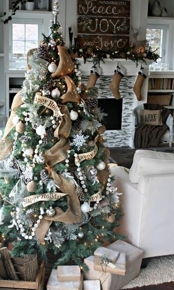 Weihnachtsbaum und kamin Deko idee