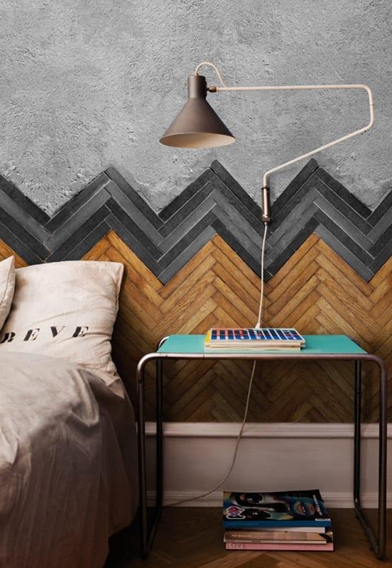 modernes schlafzimmer mit wandfarbe grau-wandgestaltung mit parkettmuster tapete