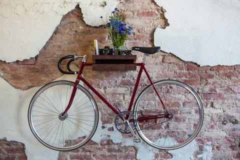 wandgestaltung ideen- ziegelwand deko mit fahrradhänger