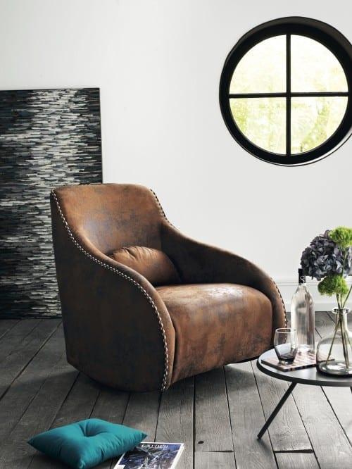 fly möbel-modernes wohnzimmer mit Ledersessel braun