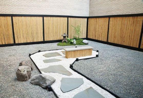 traumgarten idee- zen garten gestaltung mit bambuszaun
