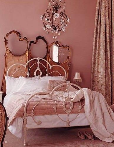 modernes schlafzimmer mit altrosa wänden-cooler wandschirm